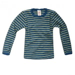 Organic wool and silk base layer childs vest in blue stripe by Engel
