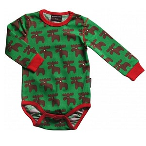 Reindeer christmas baby bodysuit in green by Maxomorra