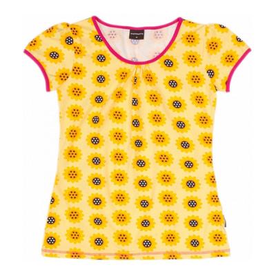 Organic cotton scandi print t-shirt sunflower print top by Maxomorra for women