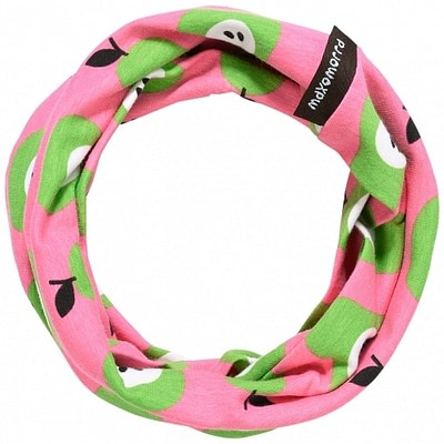 Organic cotton tube scarf in bright pink pear print by Maxomorra