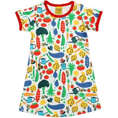 Short sleeve summer dress by DUNS Sweden in organic cotton garden vegetable print
