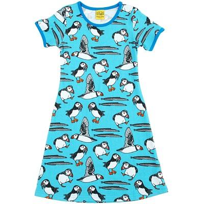 Blue puffins short sleeve dress
