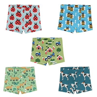 Maxomorra Meyadey summer boxer shorts Bee Farm Dog Fox Ladybird
