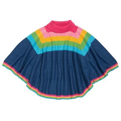 Kite poncho rainbow knit