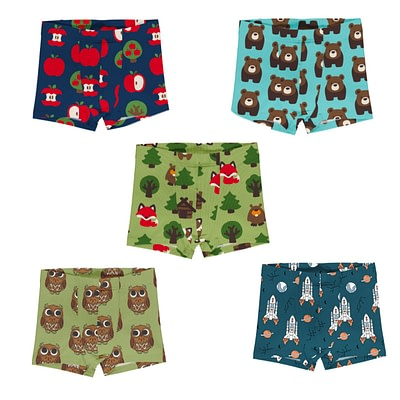 Maxomorra boxer shorts apple bear owl rocket
