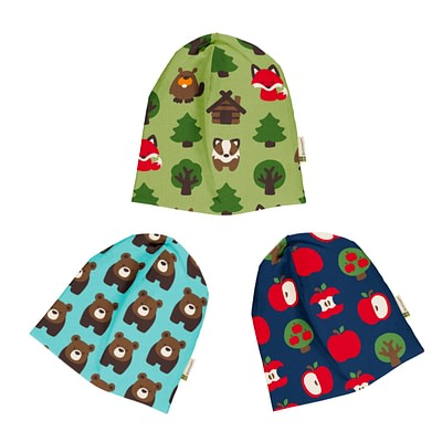 Maxomorra beanie hats velour Bear Apple Green Forest