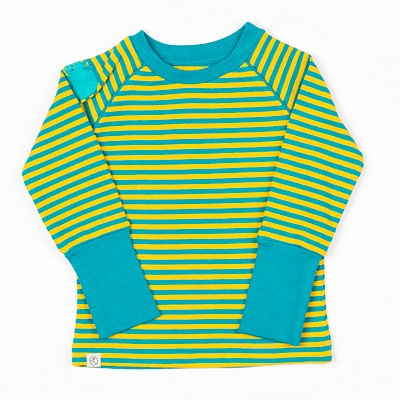 Alba stripy top in green yellow stripes