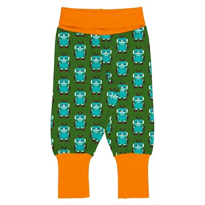 Maxomorra rib pants robot green