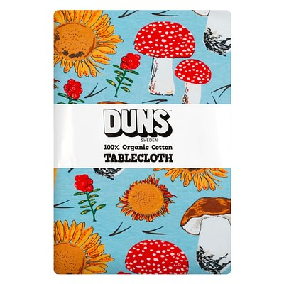DUNS Sweden tablecloth sunflowers mushrooms blue