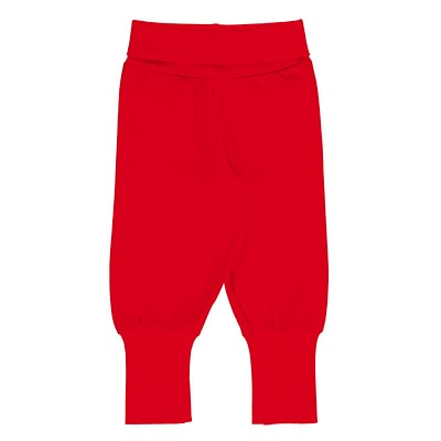 Maxomorra solid ruby red rib pants