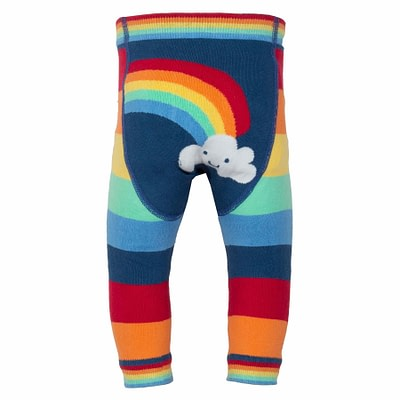 Rainbow stripy knit leggings