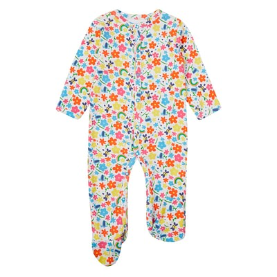 Piccalilly rainbow meadow sleepsuit