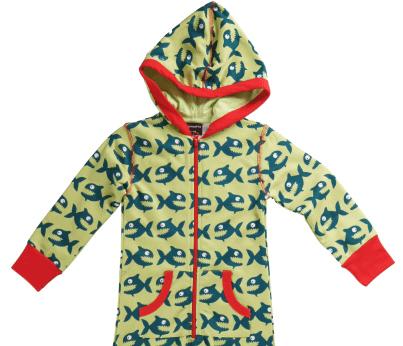 Organic cotton one piece pyjamas by Maxomorra - green piranha design