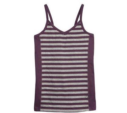 Stripey dark vest for girls in organic cotton - Living crafts clothes range