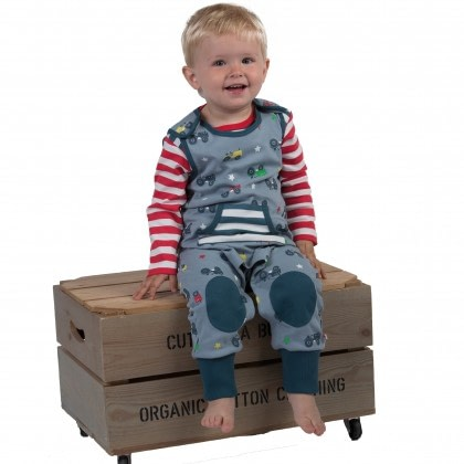 Organic cotton dungarees in tractor print by Piccalilly