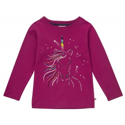 Rainbow unicorn tunic top by Piccalilly on organic cotton 1