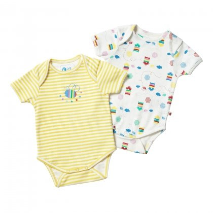 Beehive baby vest by Piccalilly in organic cotton (2 pack) 1