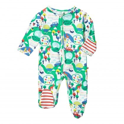 Malham farm footed sleepsuit by Piccalilly in organic cotton 1