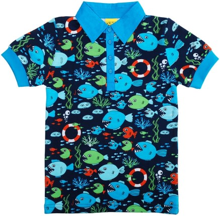 Polo style organic cotton t-shirt by DUNS Sweden - fish