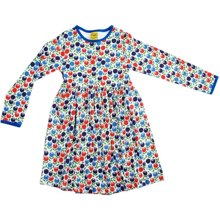 Gather skirt Berries dress by DUNS Sweden in organic cotton