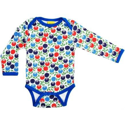 Berry print long sleeve organic cotton baby vest