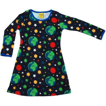 DUNS Sweden organic cotton long sleeve Earth print dress 1