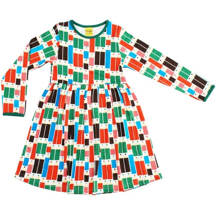 DUNS Sweden Pencils print organic cotton long sleeve twirly dress 1