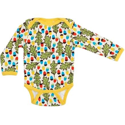 DUNS Sweden organic cotton bodysuit in acorn and oak leaves print