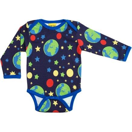 DUNS Sweden Earth print organic cotton long sleeve baby vest 1