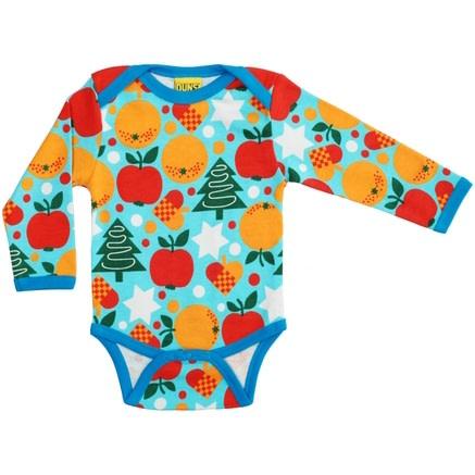 DUNS Sweden Christmas time print on blue organic cotton baby vest (9-12m) 1