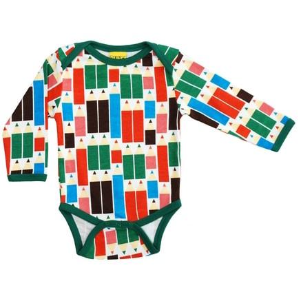 DUNS Sweden Pencils print organic cotton long sleeve baby vest 1