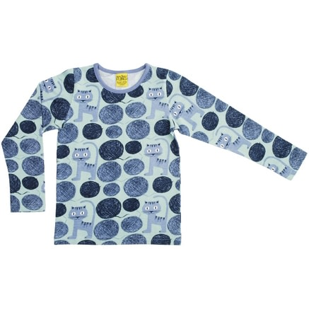 Dusty blue cats organic cotton long sleeved top - More than a fling 1