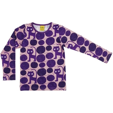 Purple cats organic cotton long sleeved top - More than a fling (9-12m) 1