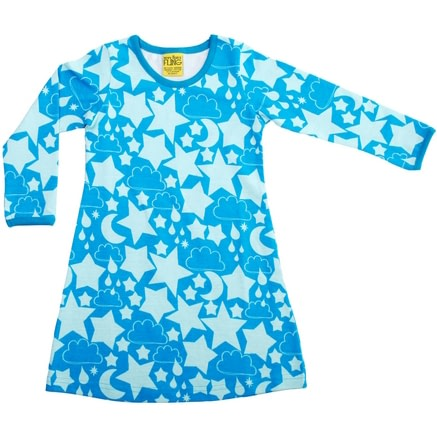 Turquoise stars organic cotton dress - More than a fling 1