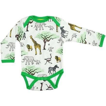 Safari print by DUNS Sweden on organic cotton baby bodysuit