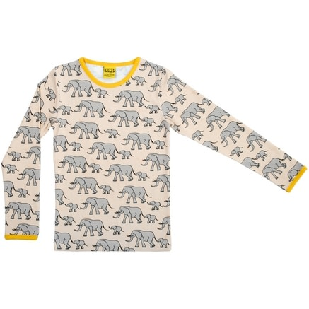 Organic cotton yellow elephants print top by DUNS Sweden