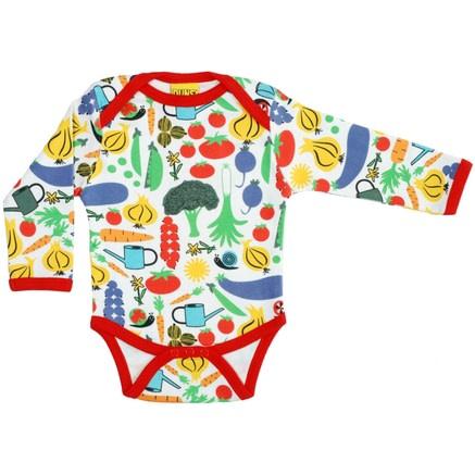Garden vegetables print by DUNS Sweden - organic baby vest