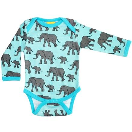 Turquoise elephant print long sleeve baby bodysuit