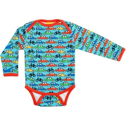Long sleeve car and bike bodysuit in organic cotton by DUNS Sweden