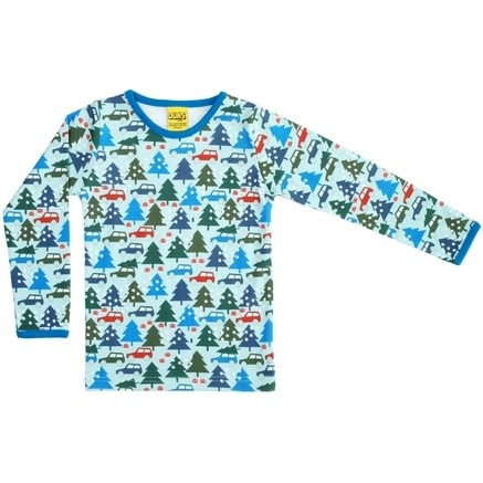 DUNS Sweden Winter trip on blue organic cotton long sleeve top (Age 6-7) 1