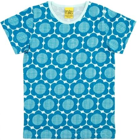 Bright flower power petrol blue t-shirt by More than a fling