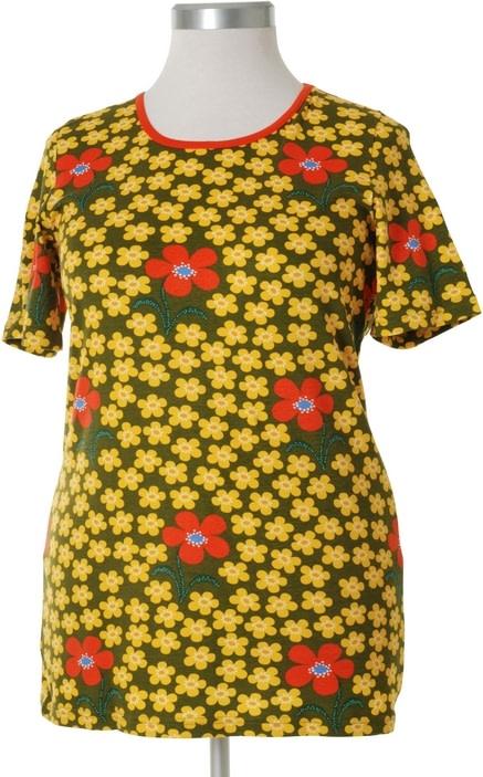 DUNS Sweden organic cotton ladies short sleeve t-shirt in rosehip print 2