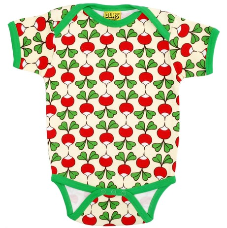 Radishes print summer baby vest in organic cotton by DUNS Sweden