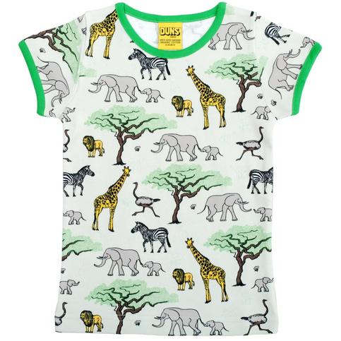 Safari animals print t-shirt on organic cotton by DUNS Sweden