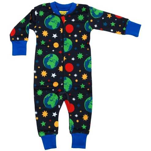 Space and planets print zip onesie by DUNS Sweden