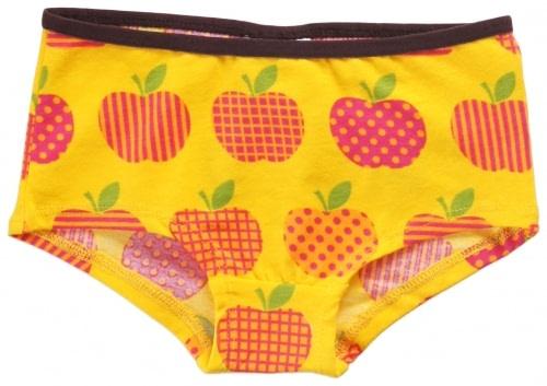 Maxmorra apple design knickers in yellow organic cotton