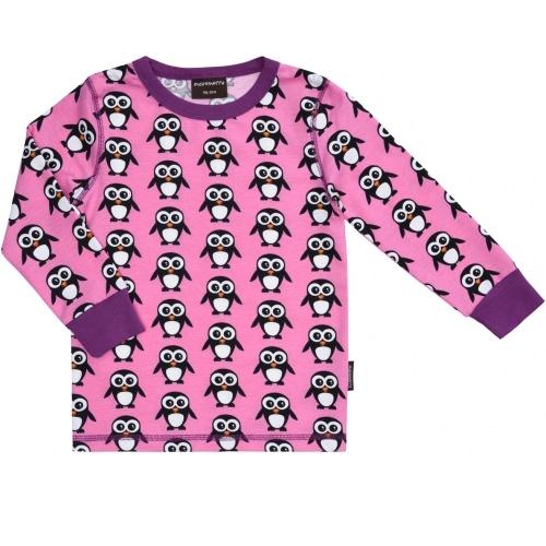 Maxomorra ~ Christmas Penguins organic cotton long sleeve top in pink 1
