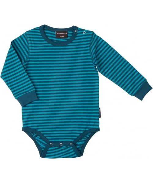 Organic cotton baby vest in bright petrol stripes by Maxomorra