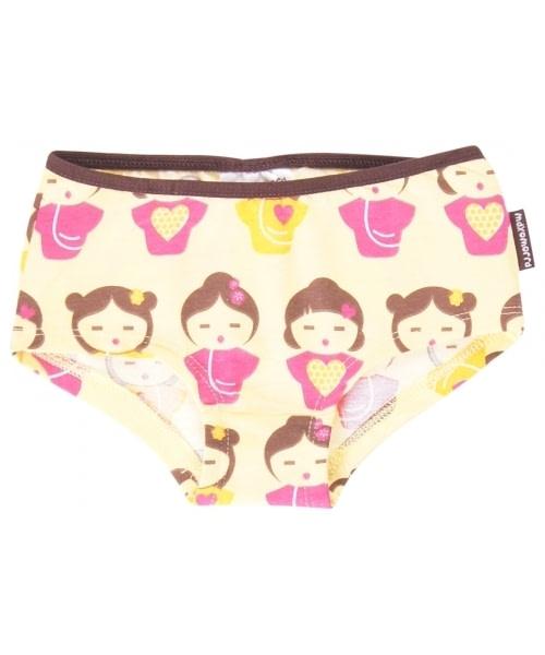 Organic cotton briefs for girls in bright Geishas design