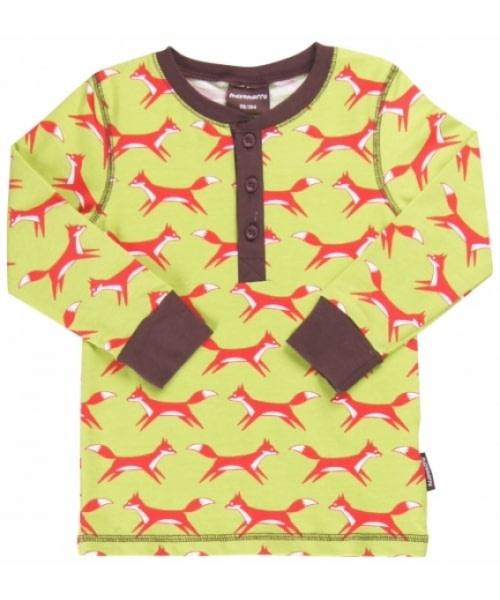 Green and red fox top with buttons by Maxomorra - organic cotton